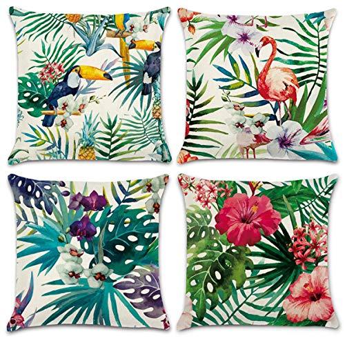 2 Piece Universal Fit Car - NYKKOLA Soild Linen Flamingo Tree Throw Pillow Covers Set of 4, Decorative Pillowcase Cushion Cover for Sofa Bedroom Car 18 x 18 Inch 45 x 45 cm