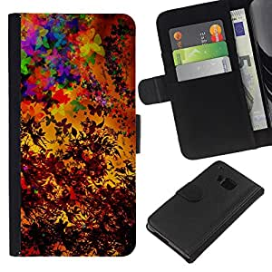 All Phone Most Case / Oferta Especial Cáscara Funda de cuero Monedero Cubierta de proteccion Caso / Wallet Case for HTC One M9 // Colorful Autumn Seasons Art Painting Leaves