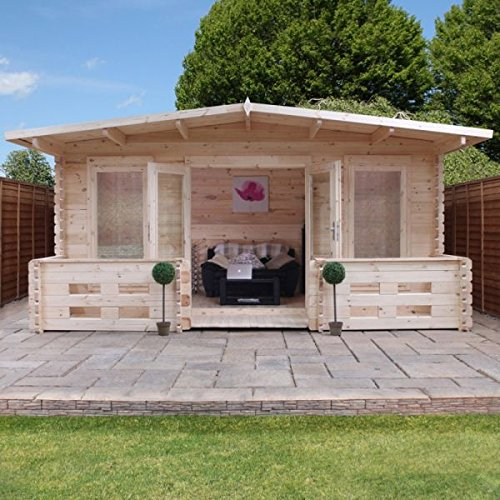 nova 5m x 3m leicestershire log cabin with veranda home office log cabins log - Garden Sheds 5m X 3m