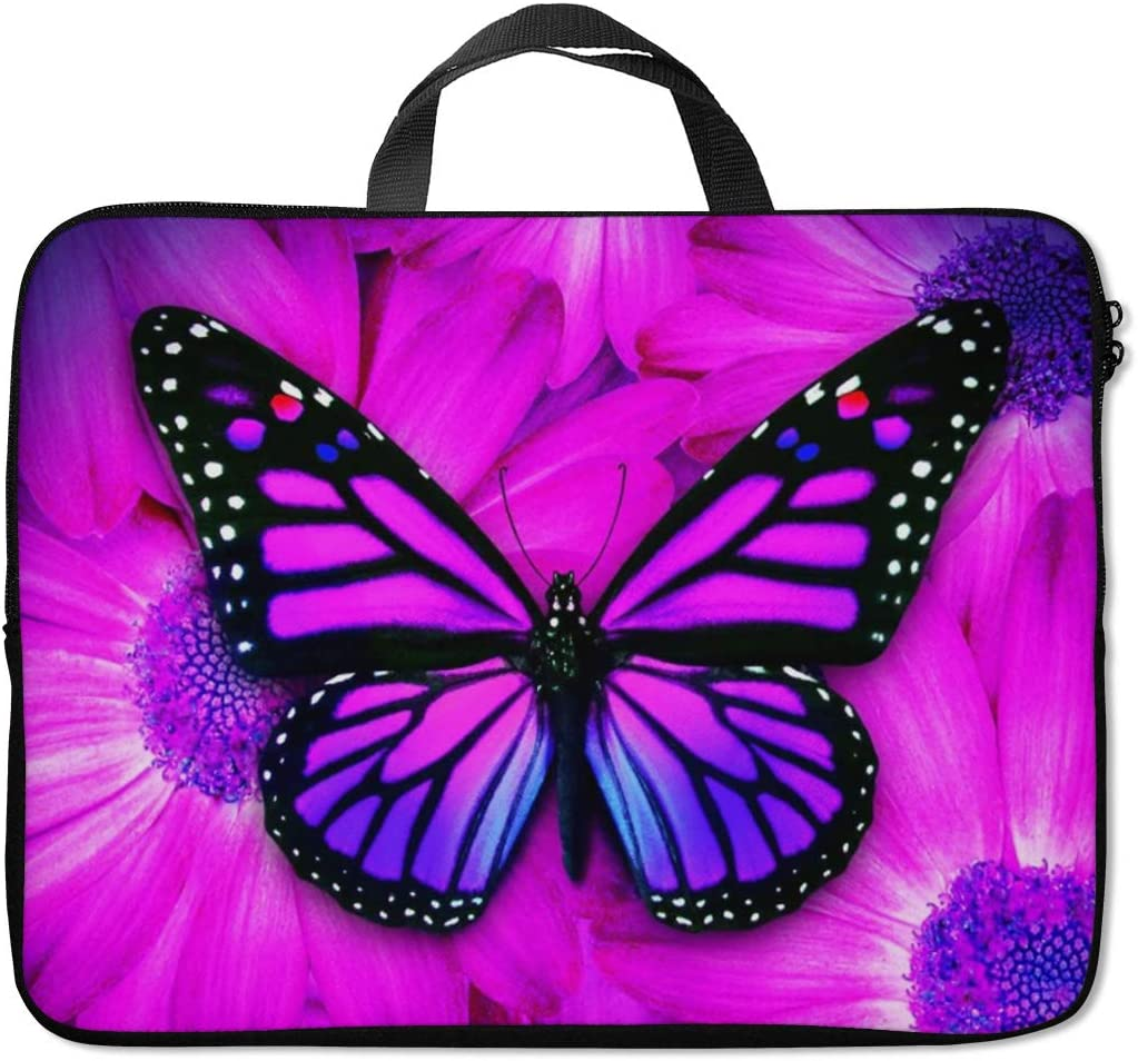 Britimes Laptop Sleeve Case Protection Bag Waterproof Neoprene PC Cover Water Resistant Notebook Handle Carrying Computer Protector Purple Butterfly 14 15 15.6 inches