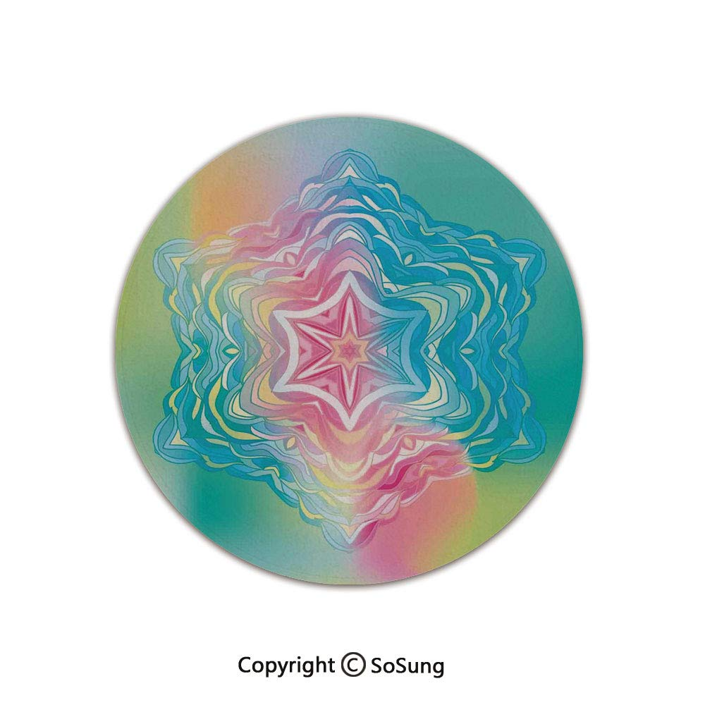Mandala Decor Round Area Rug,Psychedelic Liquid Layered Digital Ethnic Floral Icon in Soft Illustration,for Living Room Bedroom Dining Room,Round 6'x 6',Blue Pink by SoSung