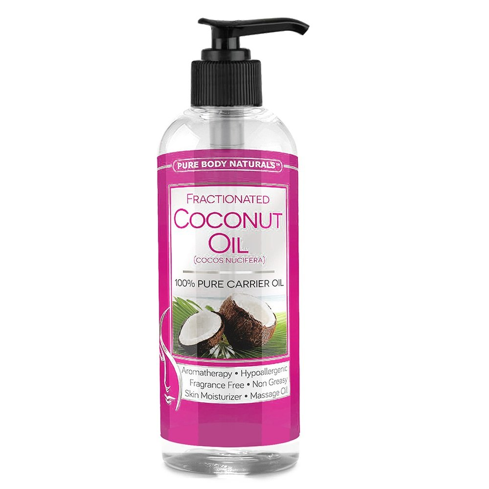 Pure Body Naturals 100% Pure Fractionated Coconut Oil for Hair, Skin and Body, 16 Fl. Ounce