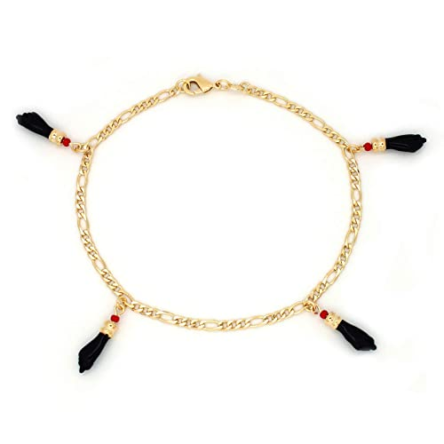 7e5dca713b8 Amazon.com: JEWELRY PARADISE Anklets Bracelet with 4 Azabache Hand Charms  Figa for Evil Eye Protection and Good Luck 14k Gold Filled Overlay-Plated  Lucky ...