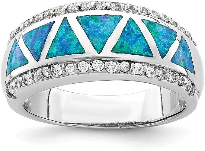 USA Seller Heart Ring Sterling Silver 925 Best Jewelry Blue Opal CZ Size 4