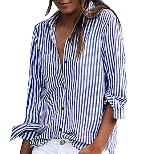 Nordstrom Cashmere Cardigan - Loose Vertical Striped Long Sleeve Shirt Fashion Women Lady Casual Cotton Long Sleeve Striped Loose Shirt Duseedik (Blue, M)