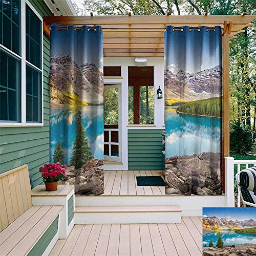 Patio Mountain Rocky Furniture - leinuoyi Landscape, Outdoor Curtain Extra Wide, Idyllic View of Moraine Lake at Sunset in Canadian Rocky Mountain Range Picture, for Patio Furniture W120 x L108 Inch Multicolor