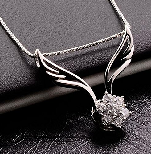 Latigerf Women Sterling Silver Angel Pendant Necklaces Cubic Zirconia White Gold Plated with Chain