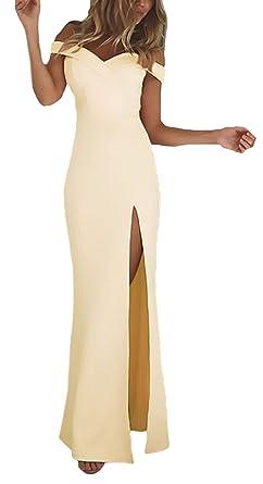 Vestidos Largos De Fiesta Para Bodas Mujer Verano Elegantes Sin Basic Ropa Hombro Slim Con Aberturas