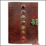 Leather Journal Seven Chakra Medieval Stone Embossed Handmade Book of Shadows Notebook Office Diary College Book Poetry Book Sketch Book 7 x 10 Inches