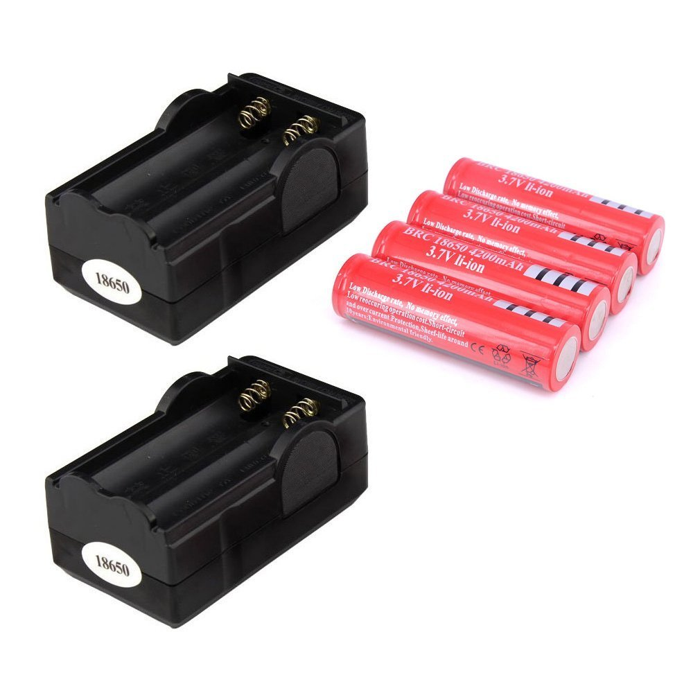 MENGCORE® New 4 pcs/set 18650 battery 3.7V 4200mAh rechargeable liion battery with 2 Dual 18650 Travel Battery Charger US Plug Wall Home Charger 110-240V for Led flashlight Torch