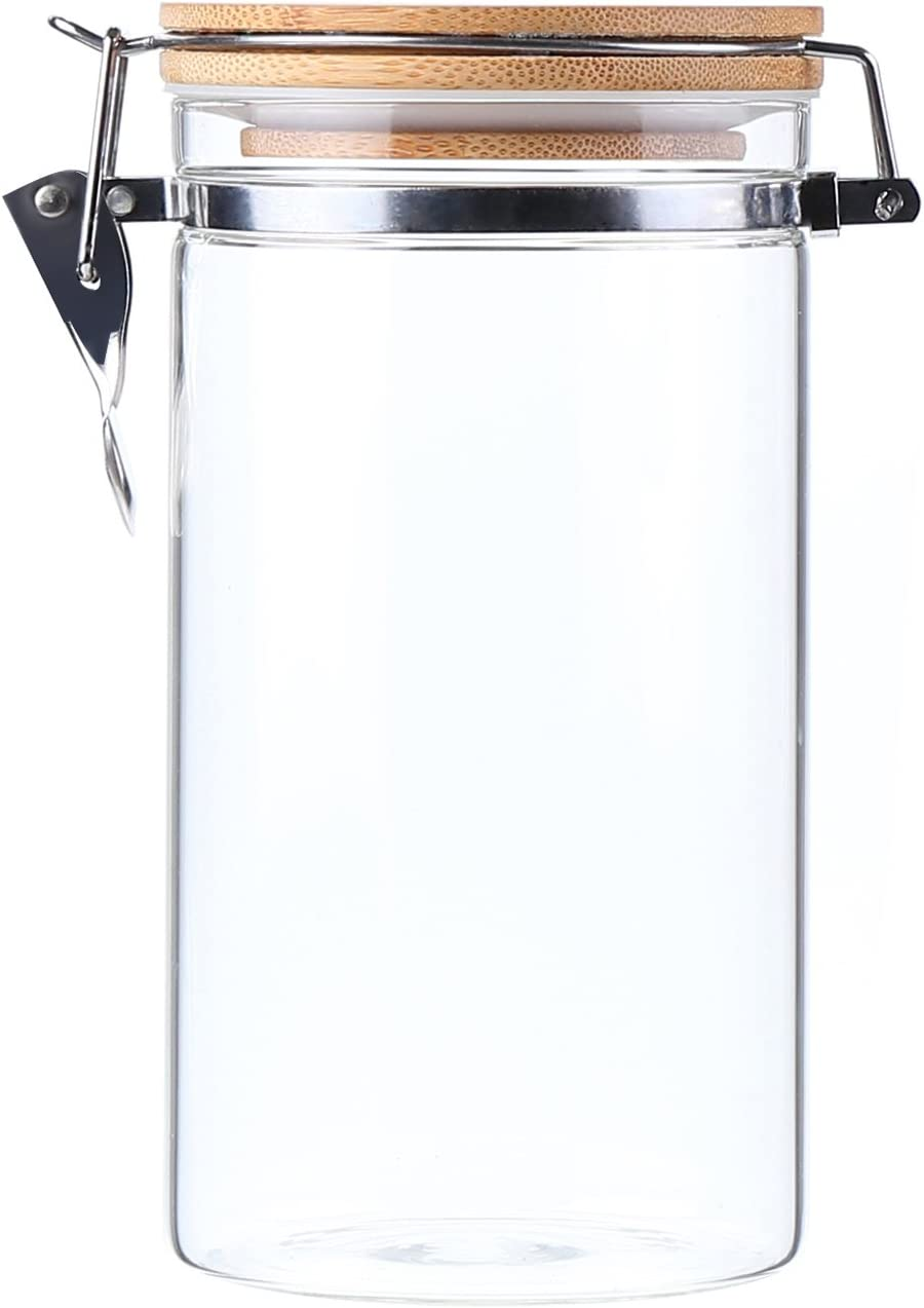 AUYE Glass Storage Jar,Coffee Bean & Kitchen food Container With Clamp Airtight wood Lid (40-Ounce)