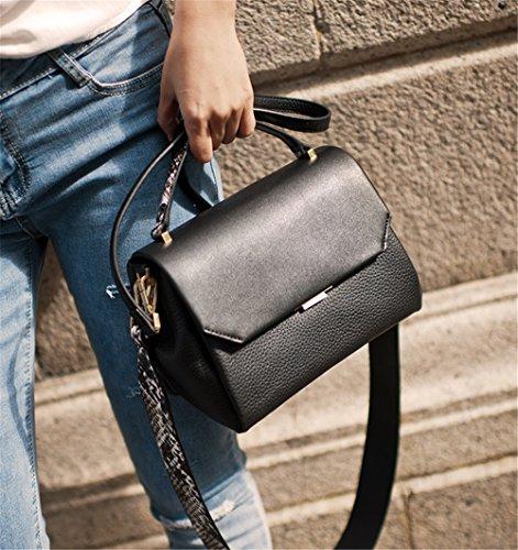 La mujer Xinmaoyuan bolsos de cuero auténtico bolsas Dama impreso Bolso Messenger hombro bolsa cuadrado pequeño, negro Negro