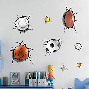 HU SHA Sports Ball Wall Stickers Removable Vinyl Wall Decor for Boys Room, Football Basketball Soccer Baseball Wall Art for Boys Room Playroom Kids Room Wall Decal(27.6 ×19.7 inches Size)