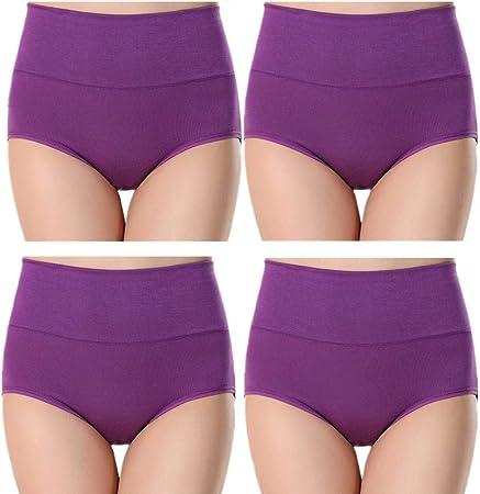 minminwu Bragas Algodon Altas Bragas Mujer Algodon Pack Bragas sin Costuras para Mujer Pantalones de la Ropa Interior de Las Mujeres Braguita Hipster Purple,XXL: Amazon.es: Hogar