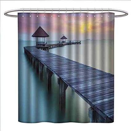 Jinguizi Seascape Shower Curtain Collection By Wooden Bridge In The Morning Sunrise Serene Dreamlike Picture