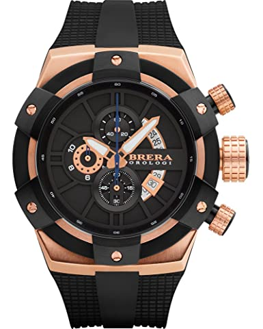 c5b92efc67a Amazon.com  Brera Orologi Supersportivo in Rose Gold and Black BRSSC4902  Brera  Orologi  Watches