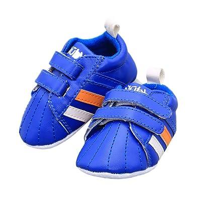 Auntwhale Bebé Niño Recién Nacido Cuero de LA PU Cinta Mágica Prewalker Antiskid Zapato Zapatillas de deporte Primeros Caminantes Cuna Zapatos 13#