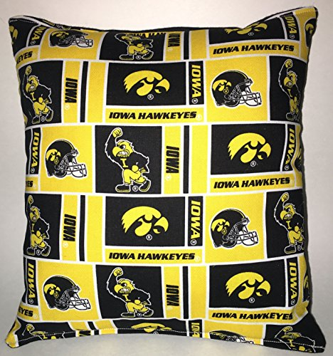 "IOWA Pillow Football Pillow Hawkeyes Pillow NCAA HANDMADE In USA Pillow is approximately 10"" X 11"