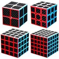 cuberspeed Speedcubing Bundle Phantom Carbon Fiber Sticker Magic Cube 2x2 3x3 4x4 with 5x5 Stickerless Black Sticker…