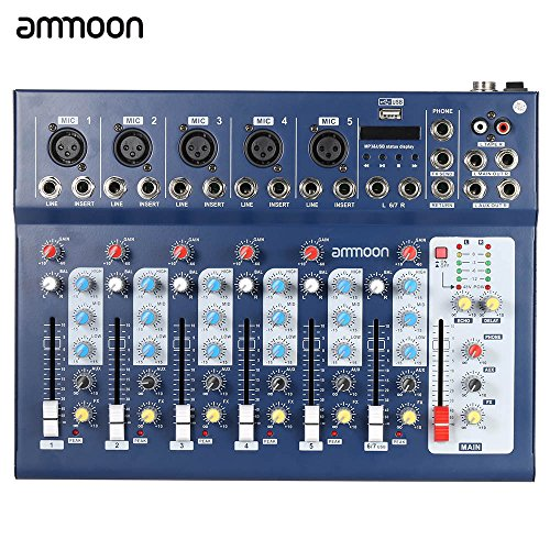 ammoon F7–USB Mixer Mixing Console 7Channel 3Band Equalizer V Space Battleship Yamato Planets Power Dj Stage Karaoke For Listening To Music