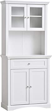 Amazon Com Homcom Traditional Freestanding Kitchen Pantry Cabinet Cupboard With Doors Adjustable Shelving White Furniture Decor