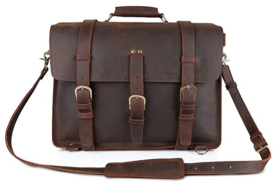 Amazon.com: Kattee Crazy Horse Leather Men's Huge Backpack ...