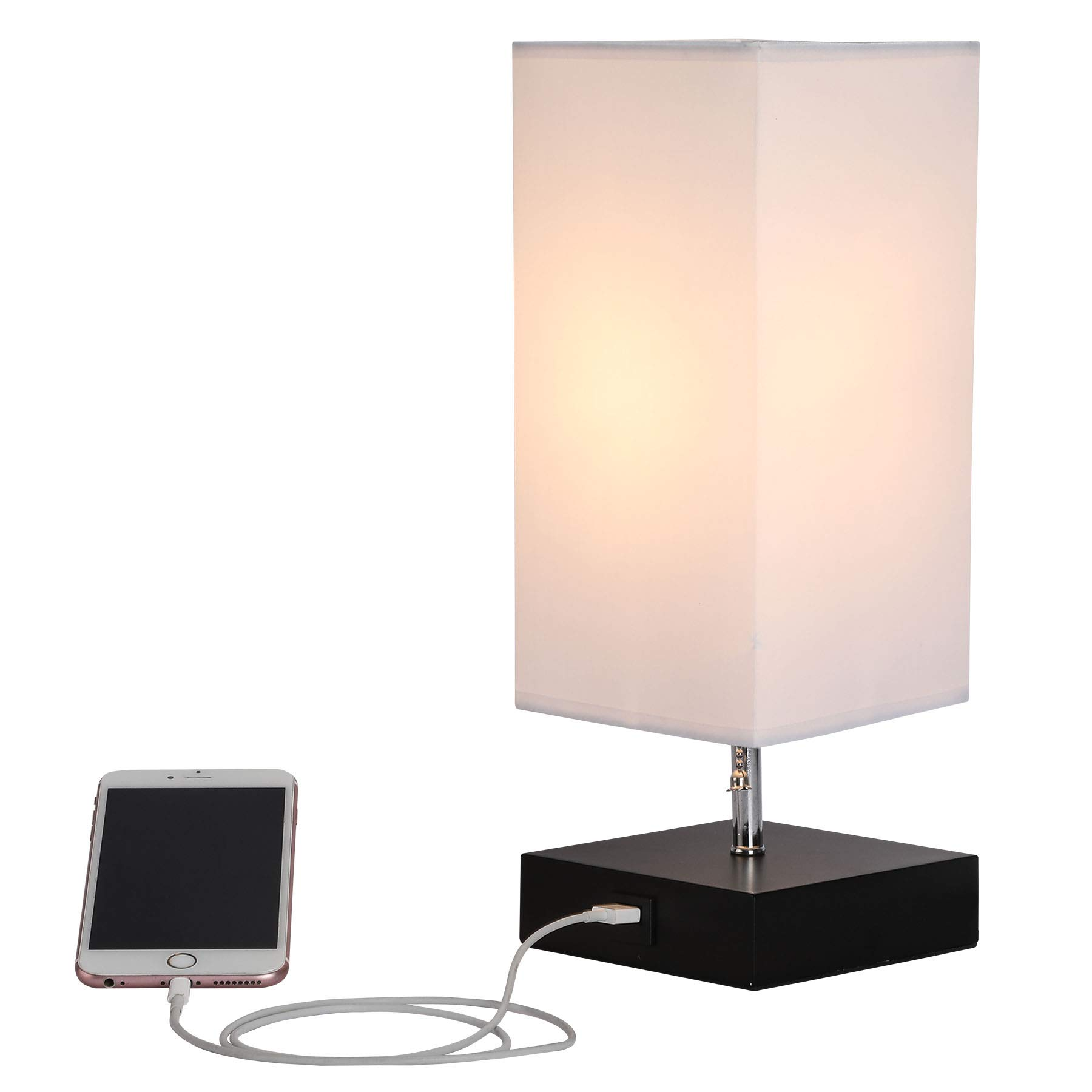 CO-Z Table Lamp with Solid Wood Base & USB Charger, Minimalist Bedside Lamp Fabric White Shade, 10'' Height for Desk Office Bedroom Nightstand (Black)