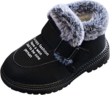 Kid Boys Girls Warm Fur Shoes Ankle Boots Winter Snow Shoes Casual Slip On Shoes