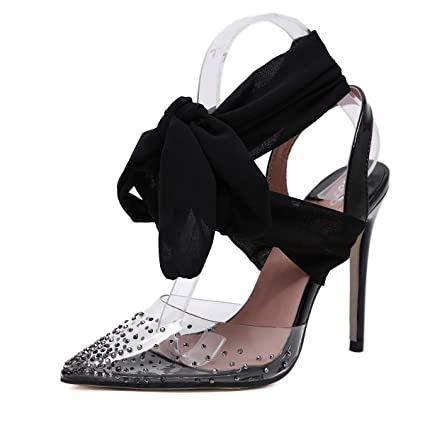 595db0b7a7636 Amazon.com: FengJingYuan Women's Sandals - Rhinestone Ribbon Pointed ...