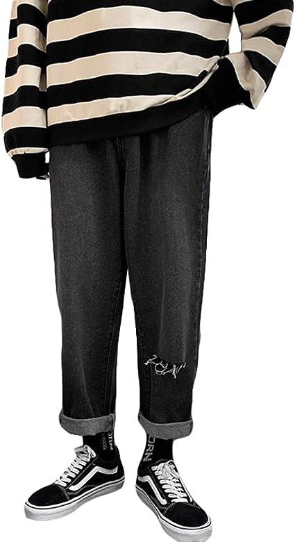 QYYジーンズ メンズ ダメージ加工 デニムパンツ ゆったり ウエスト ゴム ジーパン オシャレ 通学 Gパン ファッション ロング丈 ストレートパンツ カジュアル ワイド ズボン デニム
