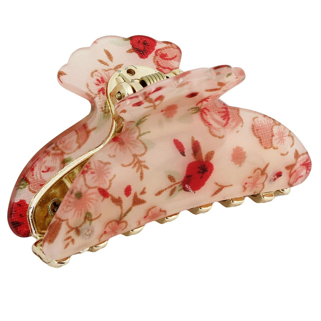 uxcell Red Apricot Color Florals Prints Plastic Hair Claw Barrette Clamp for Ladies a13111500ux0602