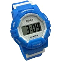 Russian Talking Wrist Watch Electronic Sports Watches with Alarm, with Blue Ruber Strap