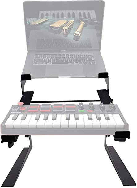 Rockville - Soporte de doble estante para ordenador portátil y controlador para teclado Akai MPK Mini MKII