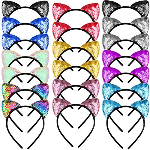 WXJ13 20 Pieces Cat Ears Headbands Reversible sequin headband Cute Cat -