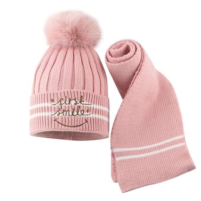 Malloom 2 Unids Toddler Baby Girls Boys Winter Warm Knitted Cat Hair Ball  Cap + Bufanda Kitty de los niños Plus Velvet Knit Cap  Amazon.es  Deportes  y aire ... a78452555561