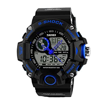 Digital Dual Time Watches Men Fashion Man Sports Waterproof Luxury Brand Military Army Reloje blue