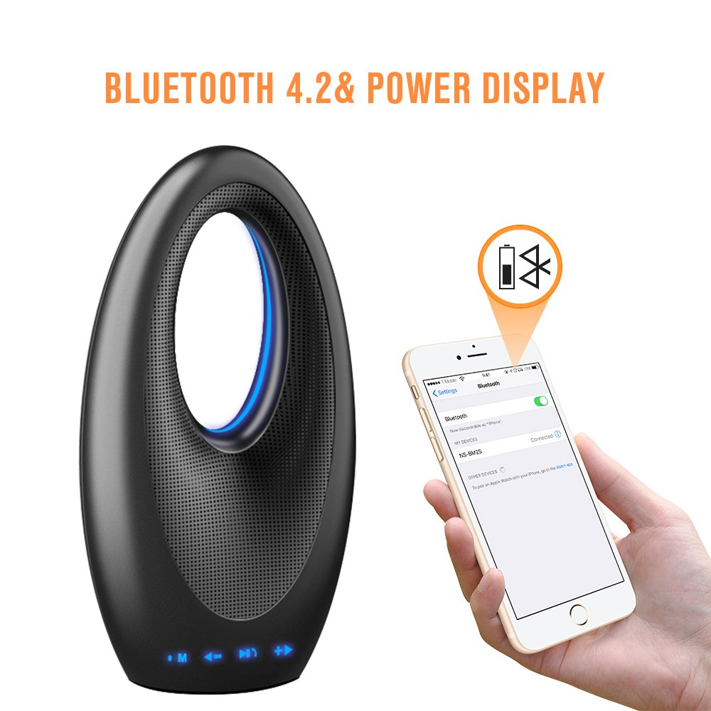 Portable Wireless Bluetooth Speaker, Stereo Bluetooth Music Speaker with Built-in Rechargeable 1500mAh Battery, FM, Built-in Microphone, Sailboat Shape, Bluetooth V4.2+EDR-Black