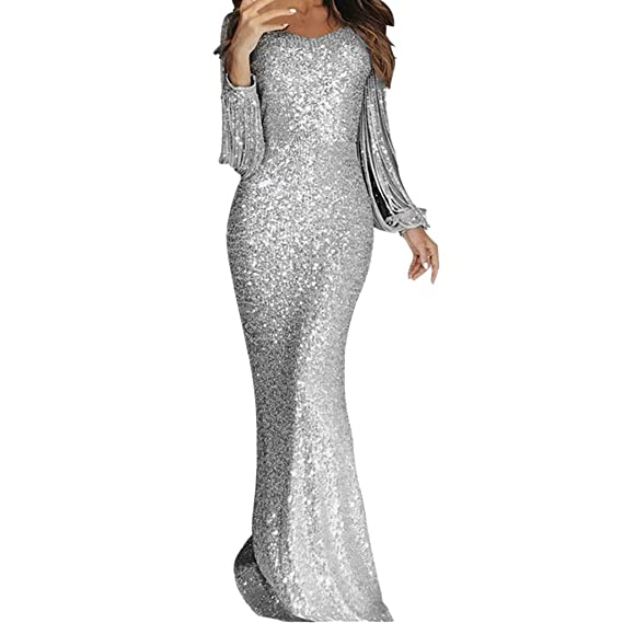 Kaitobe Womens Dress Sequins Off Shoulder Maxi Long Dress Evening Party Dress Cocktail Ball Gown Prom Tull A-Line Dress