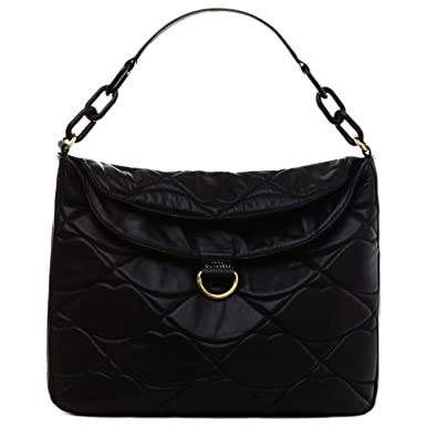 29dce064805 Lulu Guinness Black Leather Quilted Lips Large Molly Women s Bag Black  Leather