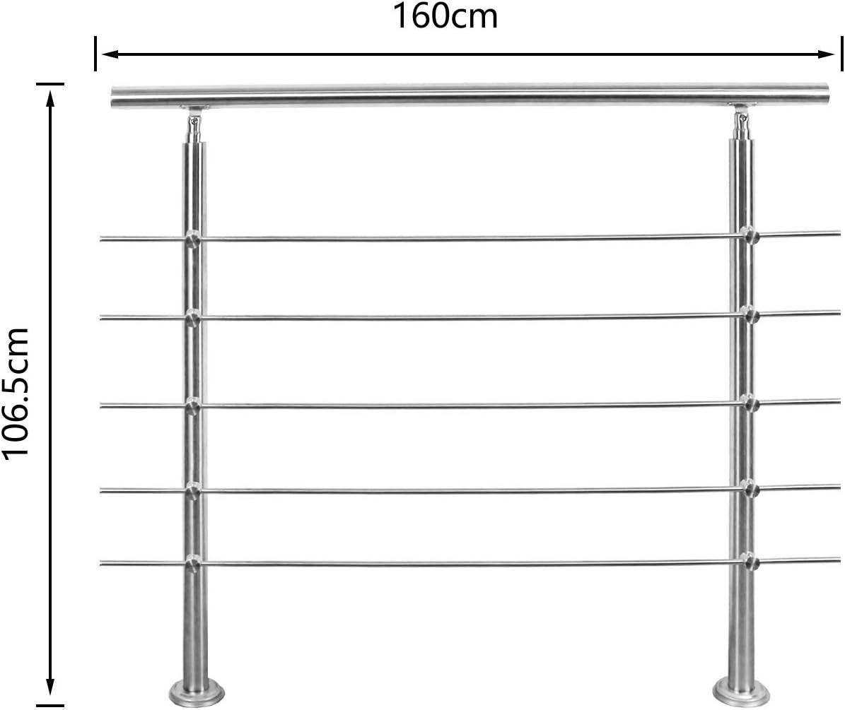 Hengda Gel/änder 120cm Treppengel/änder mit 5 Querstreben /Ø 42mm Edelstahl Handlauf f/ür Innen und Au/ßen geeignet
