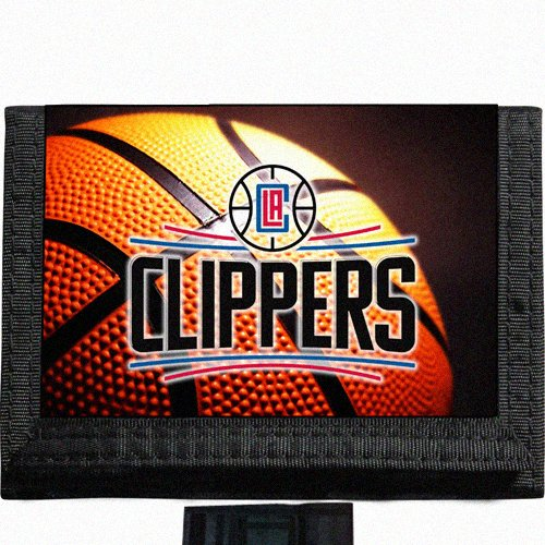 Clippers Basketball Black TriFold Nylon Wallet Great Gift Idea Los Angeles ()