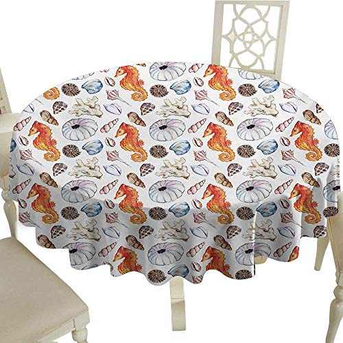(cobeDecor Elegant Waterproof Spillproof Polyester Fabric Table Cover Animal Bunch of Deep Sea Elements with Screw Shell Crabs Urchin Oyster Coral Ammonit Print D70 Multicolor)