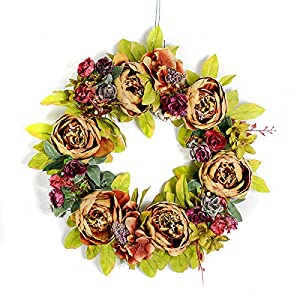 "Emlyn Floral Wreath,  Artificial Peony Flower Wreath Vintage Floral Garland Handmade Rattan for Front Door Wall Home Garden Decor 15"" (Champagne) 30"