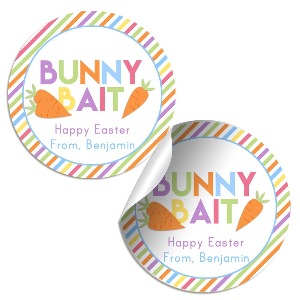 Amazon com amanda creation bunny bait personalized and custom easter stickers set of 12 2 inch round stickers for gifts toys games
