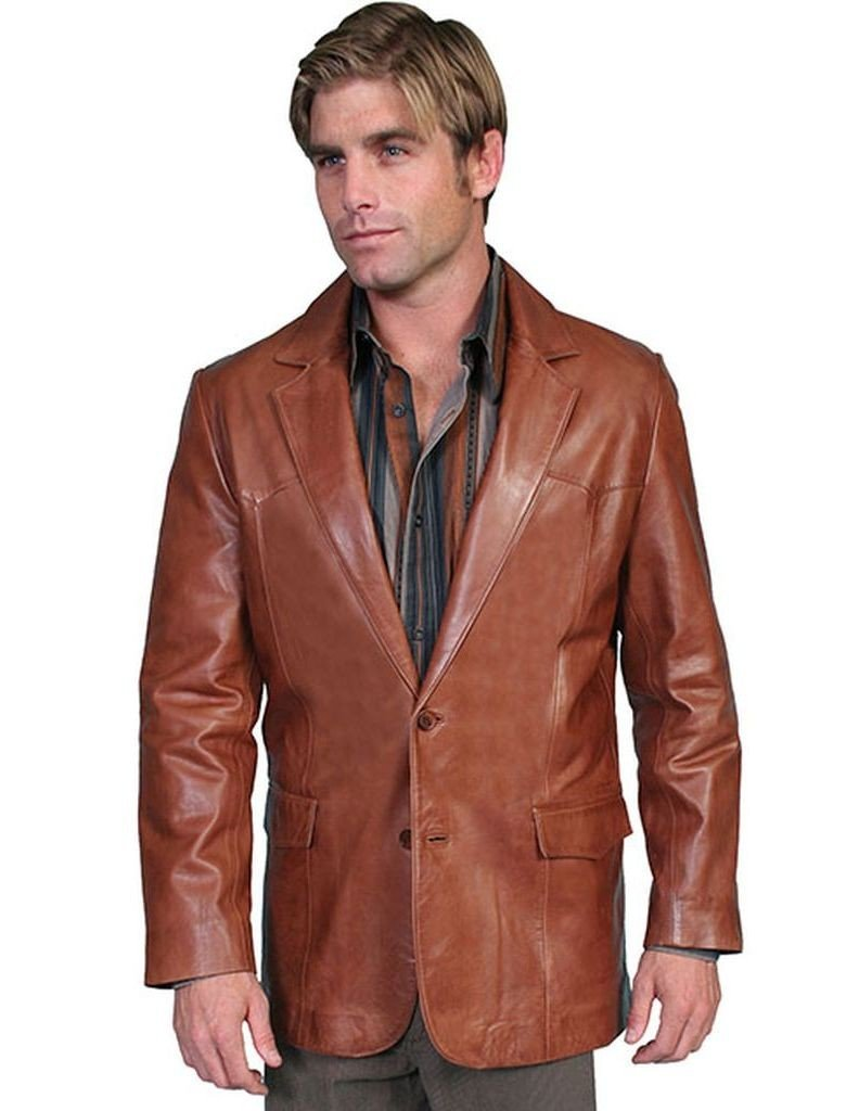 Scully Men's Lamb Leather Blazer Regular, Tall Antique Brown 48 T