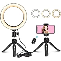 """UBeesize 8"""" Selfie Ring Light with Mini Tripod Stand & Cell Phone Holder for Live Stream/Makeup, Mini Led Camera Ringlight for YouTube Video/Photography Compatible with iPhone Xs Max XR Android"""
