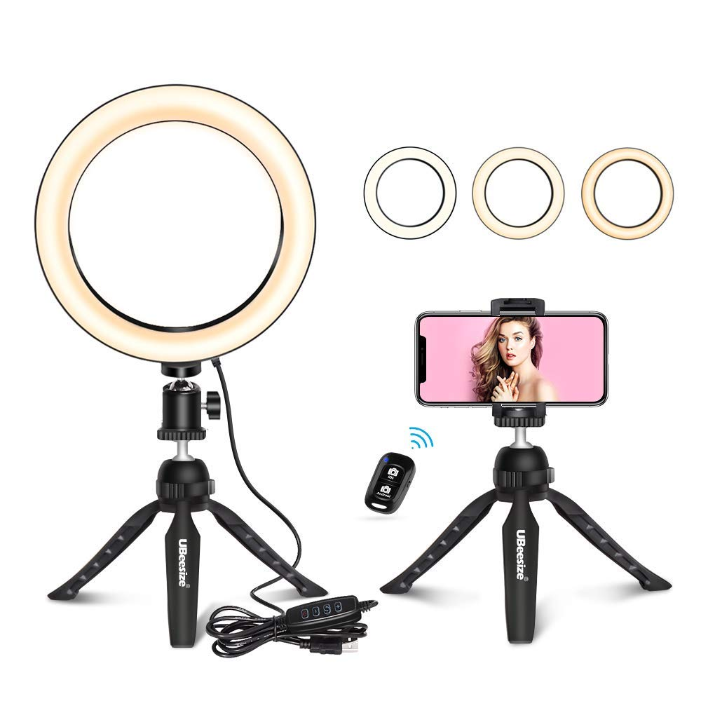 UBeesize 8'' Tabletop Ring Light with Mini Tripod Stand & Cell Phone Holder for Live Stream/Makeup, Mini Led Camera Ringlight for YouTube Video/Photography Compatible with iPhone Xs Max XR Android by UBeesize