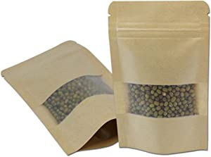 Matte Brown Kraft Paper Zipper Lock Stand Up Food Storage Bags Bath Salt Packaging Resealable Paper Pouches with Notch and Matte Window Heat Sealable (50, 3.5x5.5 inch)