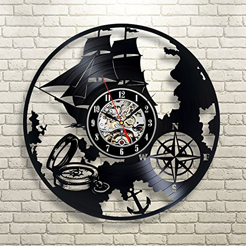 (Ship Travel Sea Compass Wall Clock 12 in(30cm) Black Decor Modern Decorative Vinyl Record Wall Clock This Clock is A Unique Gift to Your Friends and Family for Any Occasion …)