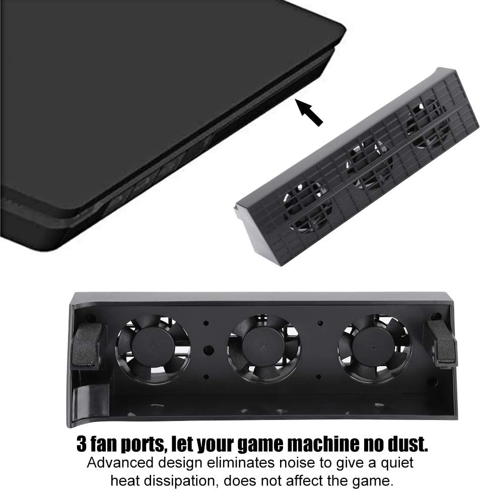 Coolling Fan for PS4 Slim,Intelligent Temperature Control Quiet Heat Dissipation Fan with 3 Fan Ports,Game Machine Heat Exhauster Cooler-Ergonomic Design,No Dust